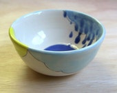 Ceramic Bowl Clouds, Rain, Sunshine Porcelain Childs Bowl - SeedlingClayworks