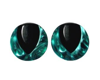 Vintage Deco Green & Black Swirl Lucite Earrings