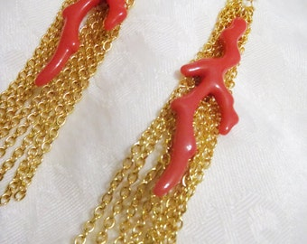 Coral and Gold Chain chandelier earrings - resin coral shape with gold chain dangle earrings - summer fun jewelry