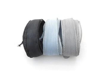 Hand dyed Silk Ribbon | for bracelet necklace | black grey silk ribbon