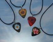 Leather Necklace, Summer Flowers Guitar Pick Jewelry, Daisy Hibiscus Rose or Sunflower, Tibetan Silver Fancy Bail, Floral Bridal Shower