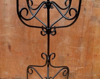 upcycled tall black candle holder, vintage look (pick up only)