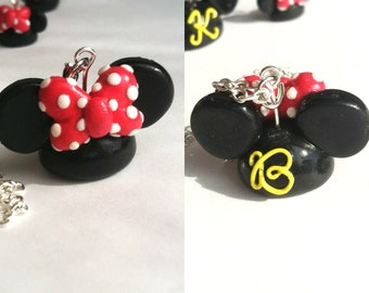 Large Mickey/Minnie Ear Hat Clay Pendant Necklace with Custom Initial