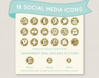 Sparkly Gold Glitter Social Media Icon Set - 18 unique and pretty icons to use for your blog, website, or portfolio. In multiple sizes!