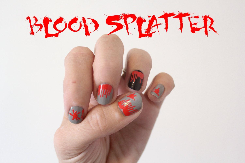Blood Splatter Vinyl Nail Stickers Halloween Theme