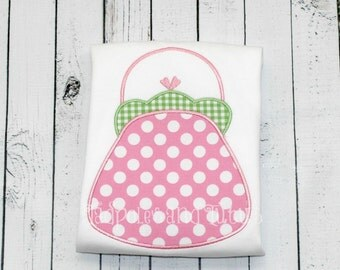 Purse Tshirt, Tee or Bodysuit, Personalized Purse Applique, Polka Dot Purse Applique Tshirt,