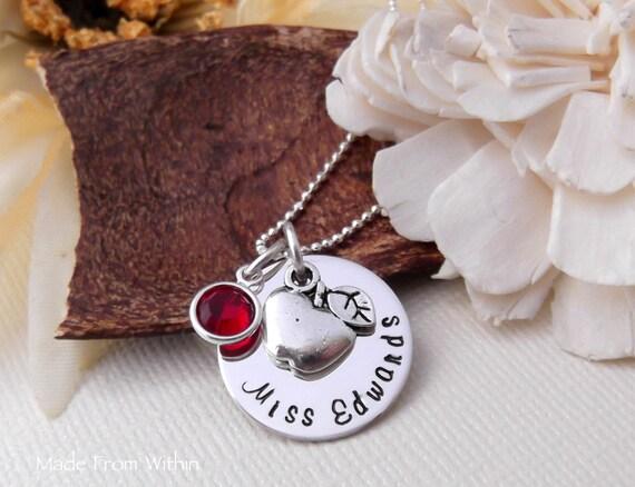 Teacher Necklace- Apple Necklace- Teacher Gift- Teacher Jewelry- Teacher Appreciation Gift- New Teacher Necklace