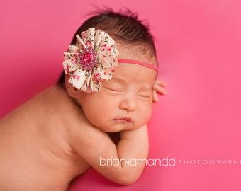 Baby Headband, Pink Baby Headband, Newborn Headband, Flower Headband, Shabby Headband Chiffon Flower Headband, Pink Headband