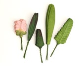50 Large Paper Leaves - Assorted pink and green leaves - with wire stems - Great for wedding decoration & scrapbooking
