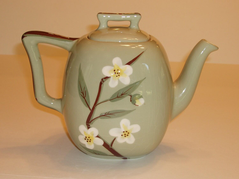 Weil Ware White Blossom Celadon Green Teapot