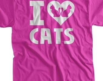 Cat T-Shirt Kitty T-Shirt Kitties I Love Cats T-Shirt I Heart Cats T-Shirt  Screen Printed T-Shirt Tee Shirt T Shirt Mens Ladies Womens
