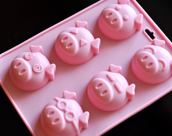 6 Cute Piggy Silicone Soap Molds Cake Cookie Chocolate Jelly Pudding Mold