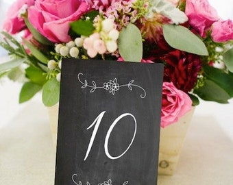 Floral Chalkboard Table Number Cards, Rustic Weddings (PG-5)