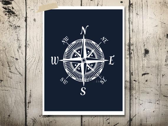 Sophisticated Modern Nautical Nursery: Nautical Compass Art Print Modern Nursery Art By EEartstudio