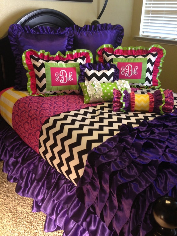 Items Similar To Monogrammed Mixed Design Girl S Bedding