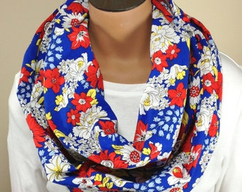 Floral Scarf, Red White Blue Floral Infinity Scarf, Floral Loop Scarf, Tube Scarf