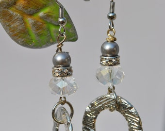 Soft gray pearl rhinestone clear sparkle crystals and silvertone hoop earrings