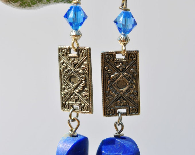 Cobalt Blue Lapis stone earrings with intricately carved silvertone pieces and Swarovski crystals