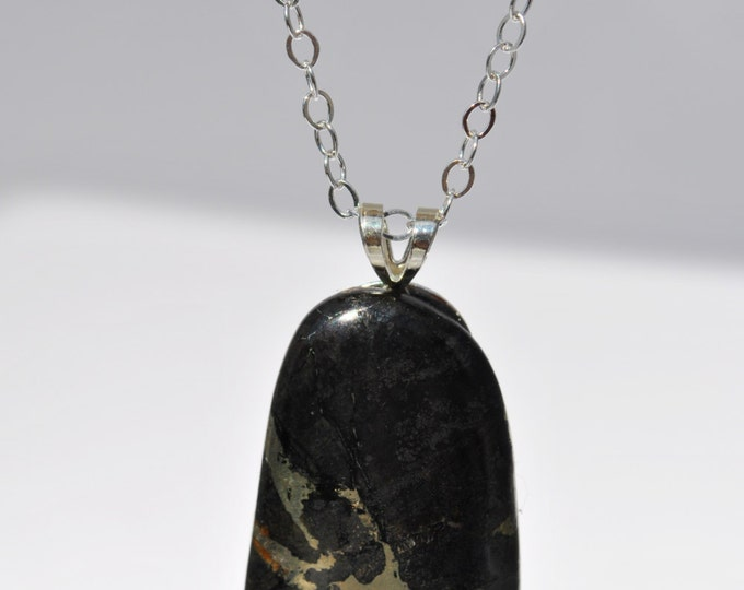 Apache Gold stone Pendant Necklace on Sterling Silver chain