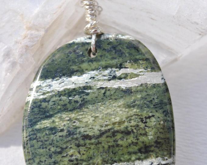 Green Zebra Jasper Stone on Sterling Silver 18 inch chain simple, boho, minimalist
