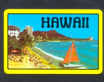 5 Hawaii Playing Cards -  Collage, Handmade Cards, Mixed Media, ATCs, Altered Books