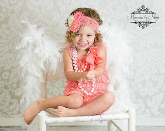 Coral Lace Petti Romper, baby girls romper, lace romper, newborn romper, birthday outfit, baby romper, toddler outfit, flower girl, Autumn