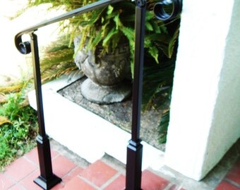 5 FT Wrought Iron Handrail Step rail Stair rail with Decorative Posts Made in the USA