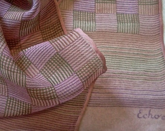 Lovely Subtle Pastel Sheer Silk Chiffon Scarf by Echo