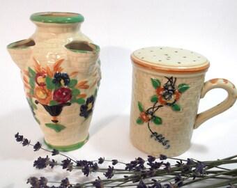 Vintage 'Made in Japan' Handpainted Basketweave Vase and Shaker.  Home Decor.