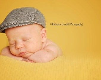 Baby hat, baby photography prop baby newsboy hat, glen check newborn hat, newborn photo prop - made to order