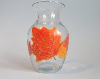Small Leaf Vase - Hand-painted Autumn Leaves Decor