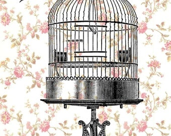 Animal painting portrait painting  Giclee Print Acrylic Painting Illustration Birdt Print wall art wall decor Wall Hanging: Bird on birdcage