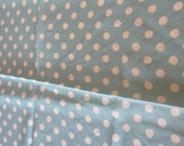 "3 2/3 yards Blue and white polka dots fabric yardage polyester light spring lightweight 42"" wide"