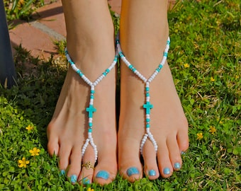 White, Silver and Turquoise Cross Barefoot Sandals, Slave Anklet, foot thong, ankle bracelet with toe ring