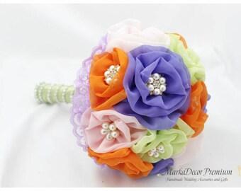 READY TO SHIP Medium Wedding Brooch Bouquet Summer Bridal Bridsmaids Custom Bouquet  in Green, Lavender Purple, Pink Orange