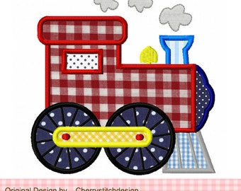Train transportation Machine Embroidery Applique Design - 4x4 5x5 6x6""