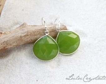 Dangle Earrings - Dainty Apple Green Chalcedony Sterling Silver - Stone Earrings - Drop Earrings - Birthstone Earrings - Gemstone Jewelry