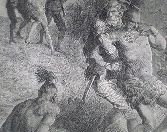 1876 Antique Print From Daniel Defoe's Robinson Crusoe - Native Tribesmen - Novel - Literature - Victorian Print - Antique Book Plate