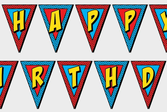 PRINTABLE Superhero Happy Birthday