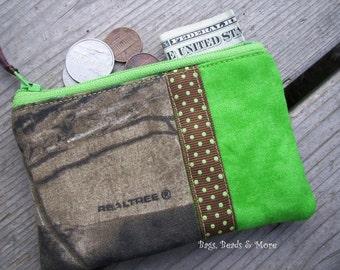 Lime Green and Camo Coin Purse, Zipper Wallet