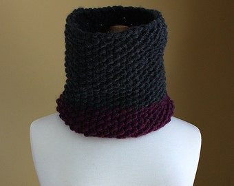 Chunky Colorblock Cowl Neck Warmer - Charcoal Grey and Aubergine Purple