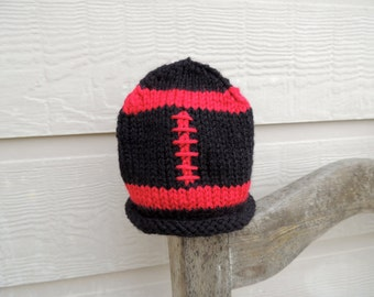 Red and Black Baby Hat, Red and Black Baby Beanie, Baby Football Hat, Baby Football Beanie, Black and Red Football Hat, Texas Tech Baby