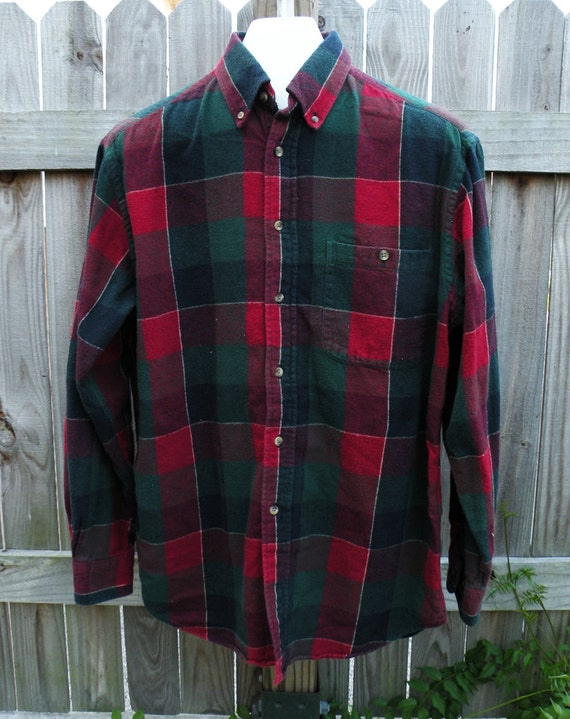 Medium mens vintage flannel shirt red green check by for Red and green checked shirt