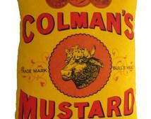 Upcycled Retro Colmans Mustard Cushion
