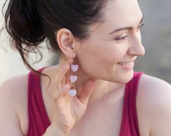 Blush Pink Heart Copper Modern Dangly Briolette Earrings