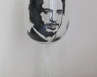 Hand Painted Wine Glass - ROBERT DOWNEY JR
