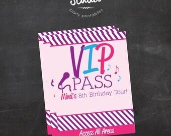 Custom Printable Pop star or Rock star VIP Passes, Backstage Pass