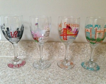 Hand painted, custom, city ,sky line, destination, wine glasses. Commemorate your home town, special vacation, or any city or town!
