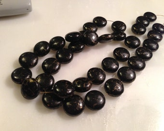 Black Turquoise With Pyrite Veining Beads 12X6MM 36 pieces