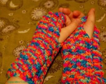 Neon Multicolour Bobble Stitch Fingerless Gloves